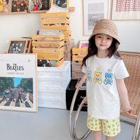طفل أطفال طفل بنين بنات الصيف عارضة الملابس مجموعات الصلبة قصيرة الأكمام تي شيرت العلويين الزي 2 قطع مجموعة