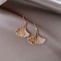 Titanium steel ladies hollow shell fan Charm women earrings classic fashion Korean luxury student wedding anniversary gift for girlfriend jewelry