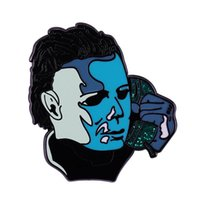 Pins, Brooches Michael Myers Enamel Pin The Texas Chainsaw Massacre & Scream 80s Horror Movie Jewelry Halloween Brooch