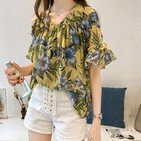 Casual ChiFon Blusa con volantes Impresión floral Femenino Camisas elegante manga corta de hombro Túnica de verano de primavera para damas # g Blusas de mujer