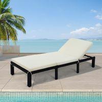 США Стоковыепывая насыщенные садовые наборы Патио Мебель на открытом воздухе Регулируемая PE Rattan Wicker Chaise Lounge Sunbed Sunbed (бежевая подушка)