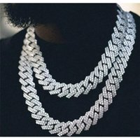 Chains Ins Hip Hop Bar Cuban Link Chain Necklace Hiphop Men And Women With Diamonds 20mm Wide Diamond Fashion