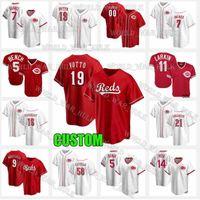 19 Joey Votto Jersey Reds 7 Eugenio Suárez Cincinnati Johnny Banco Suarez Pete Rose 11 Barry Larkin 15 Nick Senzel 54 Sonny Gray Custom