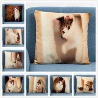 Cushion Decorative Pillow Cute Animal Cat Kitten Linen 45X45CM Cushion Cover Case For Home Sofa Car Decor Pillowcase