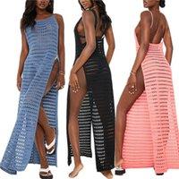 Women's Swimwear Hollow Out Long Dress, Sleeveless Crochet High Split Swimsuit Cover Up Pink Black Blue White, S M L