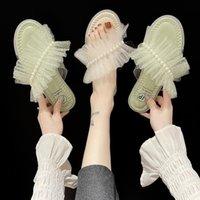 Schuhe Schmetterlingsknoten Hausschuhe Frauen Sommer Glitter Folien Müßiggänger Pantolofle Mode Gelee Flat 2021 Luxus Rom Baumwollgewebe, aber