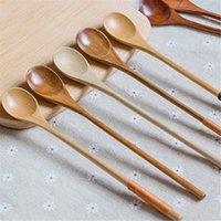 Cucchiaio da caffè in legno domestico Mish Mishing Spoon manico lungo manico in legno Cucchiaio da cucina Utensili T500735