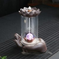 Fragrance Lamps Ceramic Backflow Incense Burner Dragon LED Light With Acrylic Cover For Home Decor Living Room Ornaments