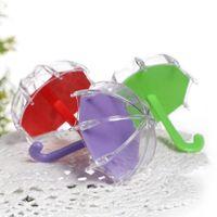 Gift Wrap 12pcs Mini Plastic Umbrella Shaped Multi-color Candy Box Wedding Favors Full Moon Baby Decoration Souvenir