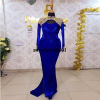 Royal Blue Prom Dress Mermaid 2022 Long Sleeves Velvet Appliques Aso Ebi Evening Dresses African Party Gowns for Women