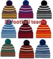 Новые рождественские боковые шапочки шапки шапки американский футбол 32 команды спортивные зимние боковые линии вязаные шапки шапочки вязаные шляпы оптом