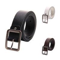 Belts Men's Casual Waistband Belt Faux Leather Buckle Waist Strap White