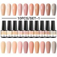 Nail Gel 10PCS Set Polish Set 125 Colors Glitter Semi Permanent Hybrid Varnish Base Top Coat Soak Off UV LED Art