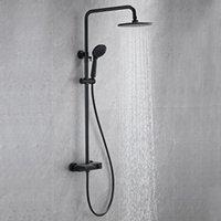 Sistema de ducha de lluvia termostática de inyección de aire de latón montado en el baño con sets de cabezal de mano