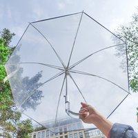 25-Inch Automatic Open Long Handle Poe Transparent Mushroom Umbrella Apollo Princess Umbrella Reflective Stripe Transparent Birdcage Umbrella
