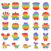 Todos los design Rainbow Color Bubble Bubble Fidget Sensory Juguete Adulto Kids Desktop Fiesta Juego Divertido antiestrés Discomresión Toys Regalo