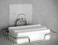 Fabrik Edelstahl Seifenschale Halter mit Aufkleber Rack Tablett Selbstdraing Sparer Korb Schwamm Badezimmer Küche Zze5625