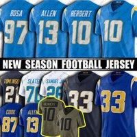 "10 Justin Herbert Austin ekeler 13 Keenan Allen Football Jersey Joy Bosa Derwin James JR 주니어 Seau Jerseys Ladinian Tomlinson 로스 앤젤레스 ""충전기""저지"