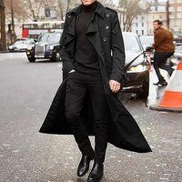 Men's Jackets 2021 Trench Coat Mens Overcoat Casual Slim Fit Windbreak Plus Size Solid Long Men Fashion Spring Jacket Homme