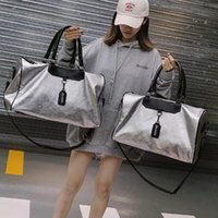 Duffel Bags Silver Sports Bag Lady Luggage In Travel With Tag Gym Leather Women Yoga Fitness Sac De Sport Big