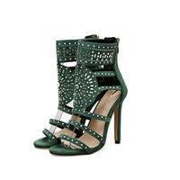 اصبع القدم المفتوح النسائي مع أحجار الراين الصنادل ذات الكعب العالي مع أحذية أحجار الراين أحذية الكاحل مع صندل من أحجار الراين النساء. LX-076.