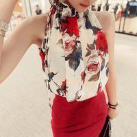 Donne Summer Summer Carino Elegante Elegante Slim Delleveless Dolcevita Fiori Stampa Chiffon Gilet Blusa Tops 2 Style Outfit Party S-XXL