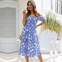 A-Line Summer Slow Sleeve Slash Pescoço Imprimir Curto Streetwear Natural Mid-bezerro Sundress Vestidos MSFILIA 210413