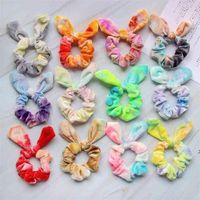 Children's Lovely Rabbit Ears Tie Dyed Korean Velvet Large Intestine Hair Circle Fashion Grils Bright Color Irregular Hairbands OWA9498
