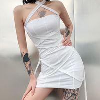 2021 Sexy Women Ladies Bodycon New Fashion Summer Bandage Jurk Mini Strap Mouwlless White Holder Off Shoulder Party Dress