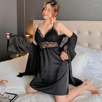 숙녀 여름 섹시한 레이스 V-neck suspender nightdress 실크 새틴 가운 정장 2pcs 가슴 쿠션 란제리 중공 Nightgown1