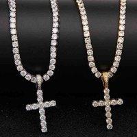 목걸이 럭셔리 쥬얼리 짧은 전체 다이아몬드 크로스 보석 펜던트 럭키 레이디 파티 선물