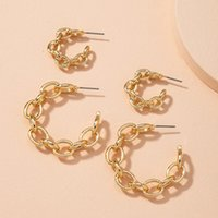 Personalized Chain Earrings Women Gold Zinc Alloy Metal Hoop Fashion Exaggerated Wedding Party Jewelry Gift & Huggie