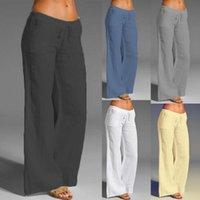 Women's Pants & Capris 2021 Summer Casual Fashion Women Solid Color Wide Leg Drawstring Elastic Waist Loose Slacks Bottoms For Work Plus Siz