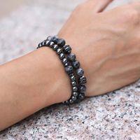 Beaded, Strands 2Pcs Set Natural Stone Bracelet For Men 6mm Hematite 8mm Volcanic Rock Fashion Braclet Charm Beaded Husband Jewelry Homme Bi
