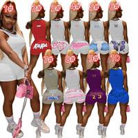 المرأة الصيف رياضية أزياء إلكتروني مطبوعة قطعتين مجموعات مثير الرياضية الصلبة اللون سترة السراويل السراويل