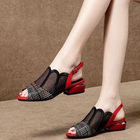 Sandali Peep Toe Sandali da donna, tacco fondo quadrato, donna maglia scarpe, casual scava fuori fibbia cintura fibbia, primavera, grande dimensione, nero rosso DU7D