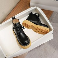 Boots Martin British style autumn winter thick soled elevated women's shoes lace up big head short boots and bare