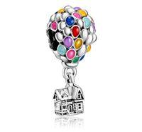 Convient aux bracelets Pandora 20pc Ballon à air chaud Ballon Argent Perle Pour Femmes Faire bricolage Collier européen Bijoux Accessoire