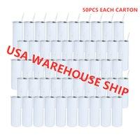 ABD Depo !!! 20 oz Süblimasyon Boş Sıska Tumbler Süblimabilebilir Paslanmaz Çelik Slim Tumblers Temizle Saman Silikon Alt Kapak