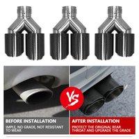 Kohlefaser-Stil-Y-förmige Dual-Auslass-Auspuffrohr-Schalldämpfer-Spitze-Heckschmerzen 63-89mm Geeignet für Universal-Car-Krümmerteile