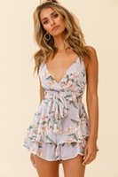 Hot sales floral digital printing halter belt V-neck sexy backless one-piece shorts flounces fashion pants for women