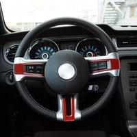3 adet Karbon Fiber Sticker Araba Direksiyon Düğme Çerçevesi Ford Mustang 2009-2013 Oto İç Aksesuarları için Kapak Süslemeleri Süslemeleri