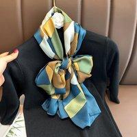 Scarves Silk Scarf Hijab Women Luxury Bandana Female Muslim Headband 2021 Shawl Summer Soft Wrap Neck Foulard Pashmina