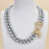 Bijoux Guaguai 2 brins Collier de perles de riz gris CZ Pendentif pour femmes véritables gemmes pierre dame bijoux de mode