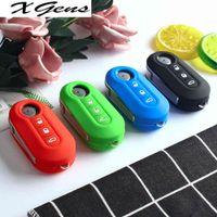 For Fiat 500 Grande Punto Stilo Pando Ducato Flip Folding Remote Key Shell Fob Silicone Car Key Case Cover 3 Buttons