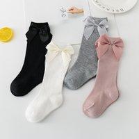 Ins Baby Mädchen Knie Hohe Socken Kinder Kleinkind Socke Große Bogen Baumwolle Mid Socke Für kleine Mädchen Tube Socken M2710 145 Y2