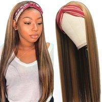 Hightlight Straight Headband Wigs Mujeres negras Pelo sintético Fácil de usar # 4/27 20-30 pulgada