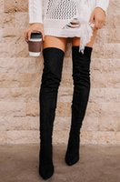 Boots 2021 Faux Suede Slim Over The Knee Winter Women Sexy Thigh High Heel Female Shoes Woman Overknee Size 43