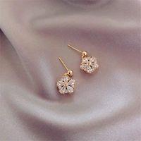 Dangle & Chandelier Trendy Cubic Zirconia Gold Pendant Earring For Women Delicate Flower Design Bridal Wedding Statement 2021 Jewelry Gift
