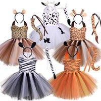 2021 Cadılar Bayramı çocuk sonbahar hayvan zebra karikatür inek kaplan elbise moda kızın akşam parti cosplay elbiseler giyim şapkalar seti G86M7F8